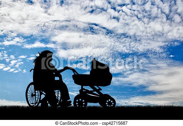 invalido, carrozzella, donna, carrozzina, giorno - csp42715687