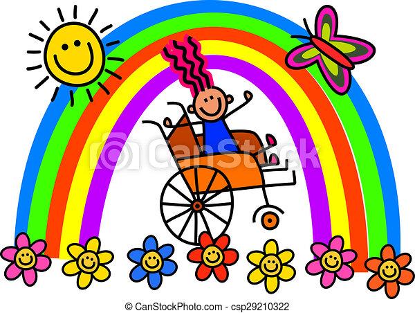 invalido, carrozzella, ragazza - csp29210322