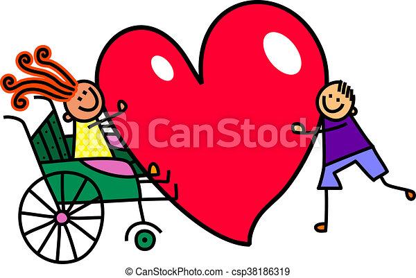 invalido, cuore, ragazza, amore, grande - csp38186319
