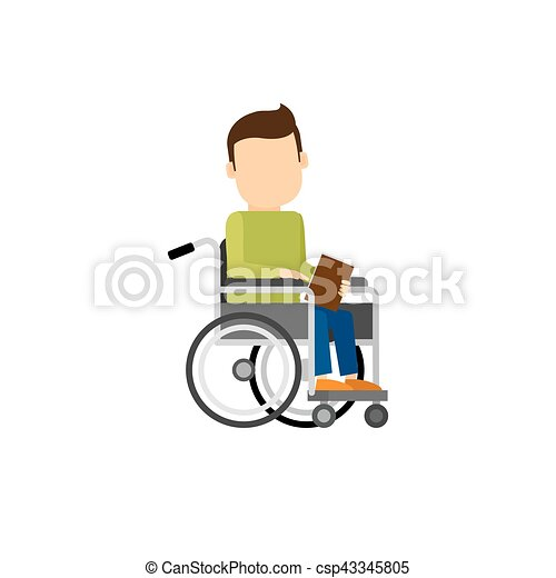 invalido, libro, uomo - csp43345805