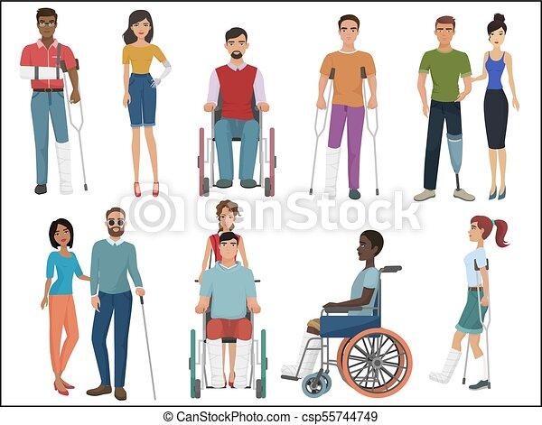 invalido, loro, illustration., persone, set., porzione, vettore, amici - csp55744749