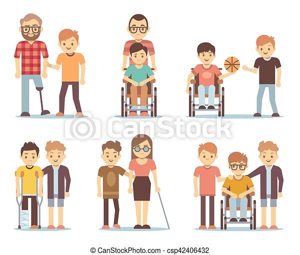 invalido, loro, set, persone, porzione, vettore, amici - csp42406432