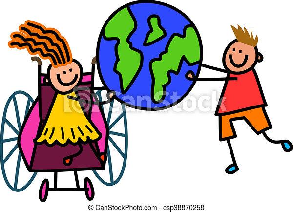 invalido, mondo, bambini - csp38870258