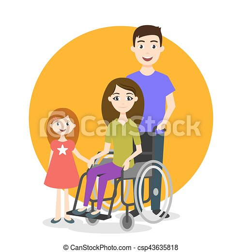 invalido, persona, vettore, illustrazione, famiglia - csp43635818
