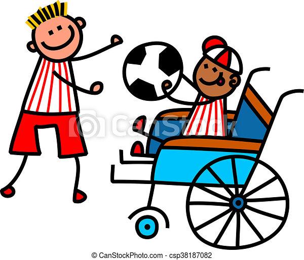 invalido, ragazzo, calcio - csp38187082