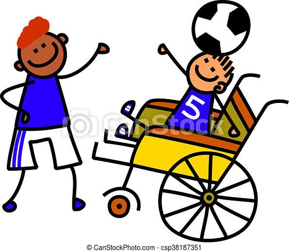 invalido, ragazzo, calcio - csp38187351