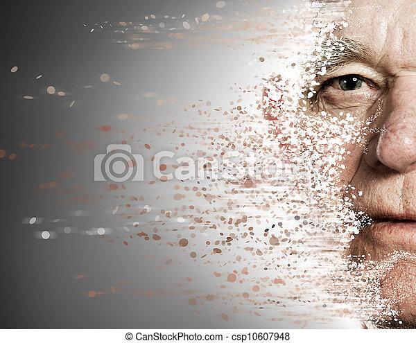 invecchiamento, concetto, apart., anziano, faccia, cadere, uomo - csp10607948