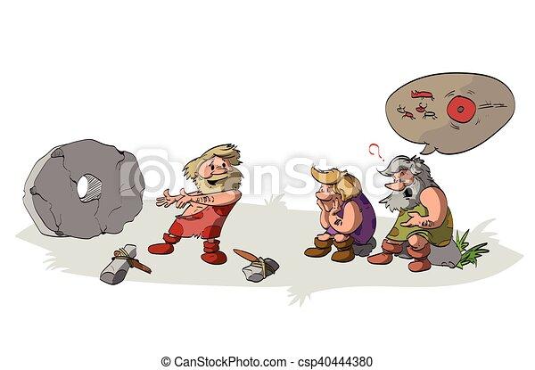 inventing, cavemen, wheel. - csp40444380