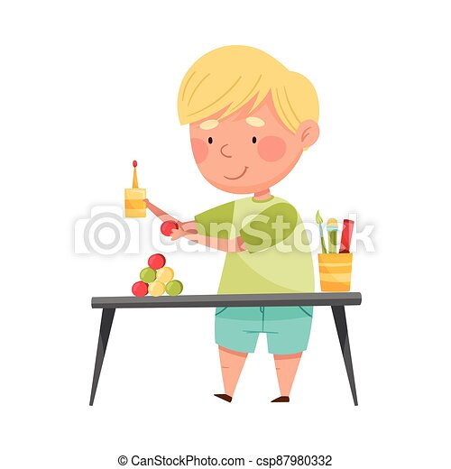 Inventive Boy Engaged in Upcycling Reusing Recyclable Material Vector Illustration - csp87980332