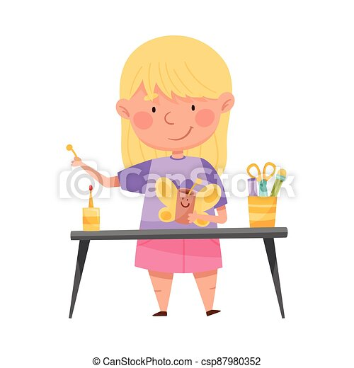 Inventive Girl Engaged in Upcycling Reusing Recyclable Material Vector Illustration - csp87980352