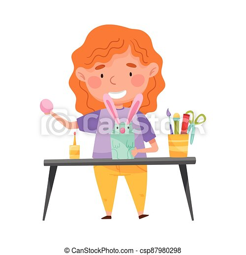 Inventive Girl Engaged in Upcycling Reusing Recyclable Material Vector Illustration - csp87980298