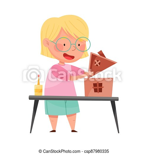 Inventive Girl Engaged in Upcycling Reusing Recyclable Material Vector Illustration - csp87980335