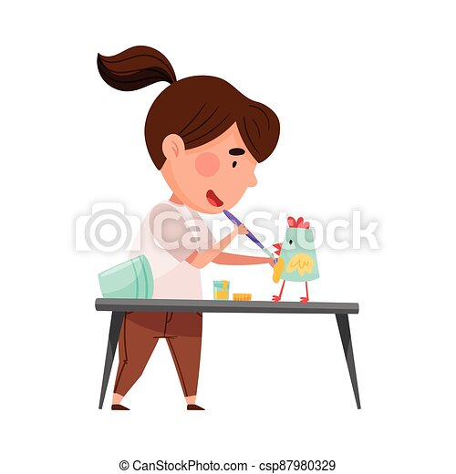 Inventive Girl Engaged in Upcycling Reusing Recyclable Material Vector Illustration - csp87980329