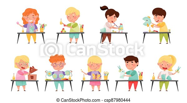 Inventive Kids Engaged in Upcycling Reusing Recyclable Materials Vector Set - csp87980444
