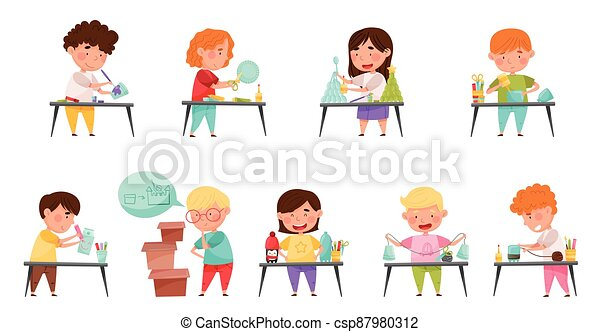 Inventive Kids Engaged in Upcycling Reusing Recyclable Materials Vector Set - csp87980312