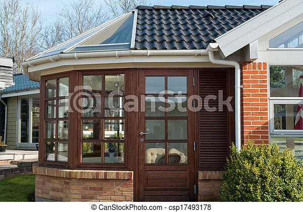 Invernadero, moderno. Invernadero, hecho, marco de madera, moderno ...