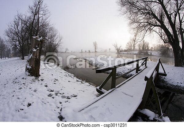 inverno, amanhecer - csp3011231