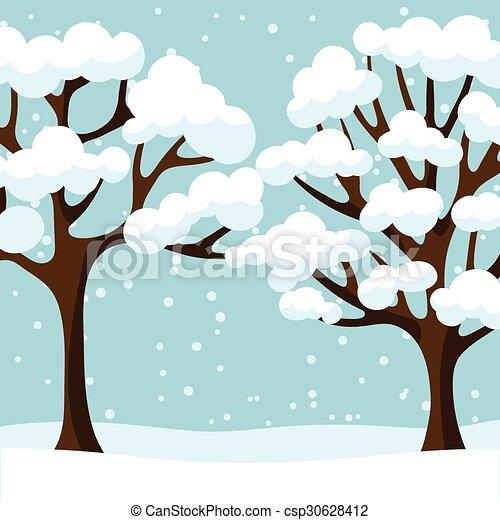 Inverno Astratto Albero Stilizzato Disegno Fondo Inverno