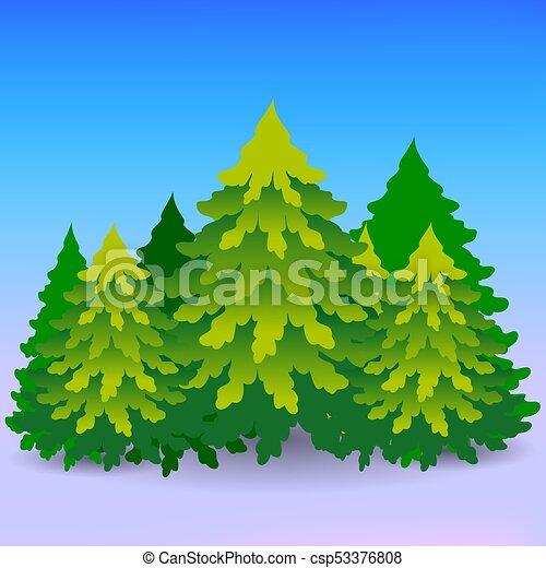 Inverno lotti cartone animato albero foresta verde natale