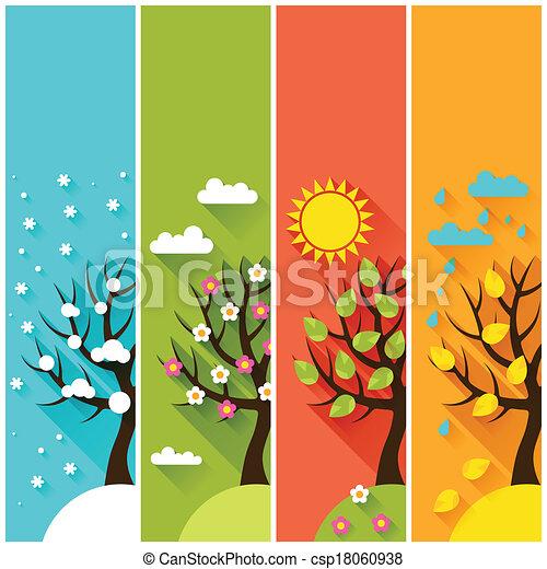 inverno, vertical, primavera, árvores., outono, bandeiras, verão - csp18060938