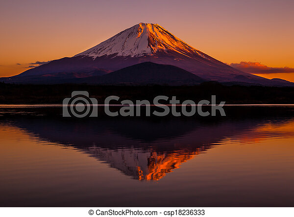 Inverted image of Mt.Fuji, sunset - csp18236333