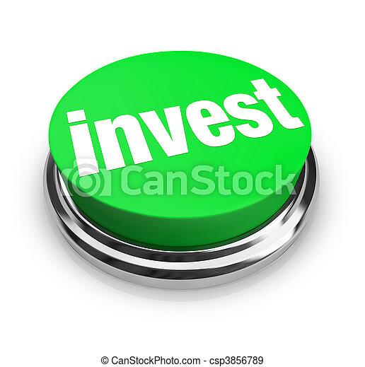 Invest - Green Button - csp3856789