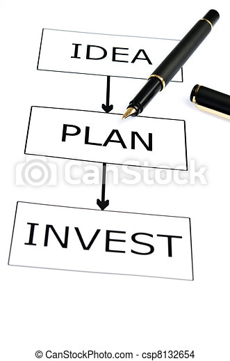 Invest scheme and pen on white - csp8132654
