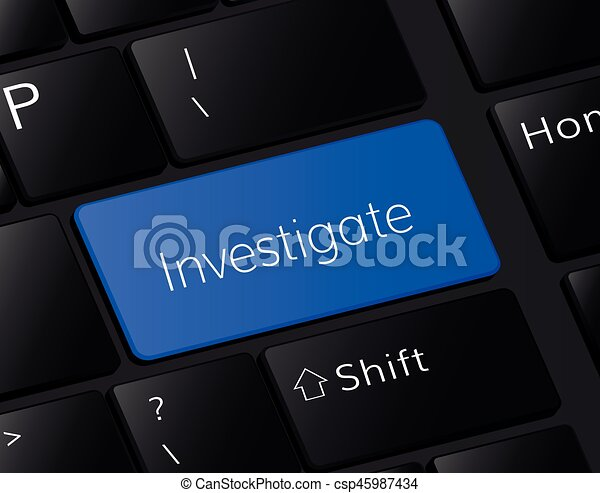 Investigate button on keyboard. Investigation concept - csp45987434