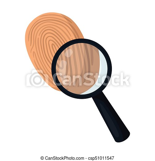 Investigation by fingerprint magnifier, crime  Loupe is a detective tool,  single icon in cartoon style vector symbol stock illustration web