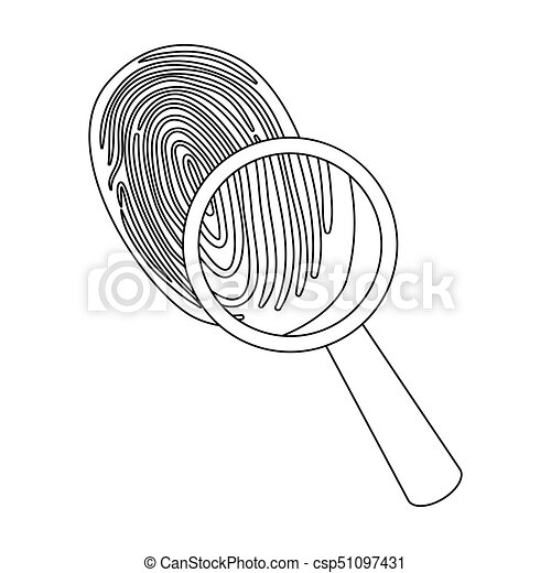 Investigation by fingerprint magnifier, crime  Loupe is a detective tool,  single icon in outline style vector symbol stock illustration web
