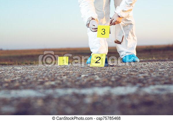 investigation., forense, escena crimen, science. - csp75785468