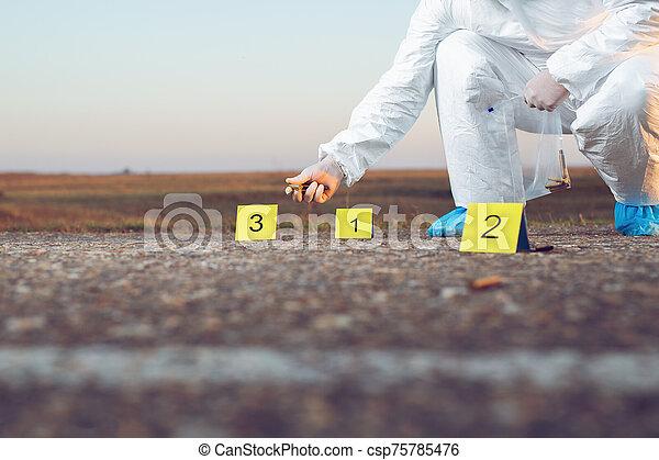 investigation., forense, escena crimen, science. - csp75785476