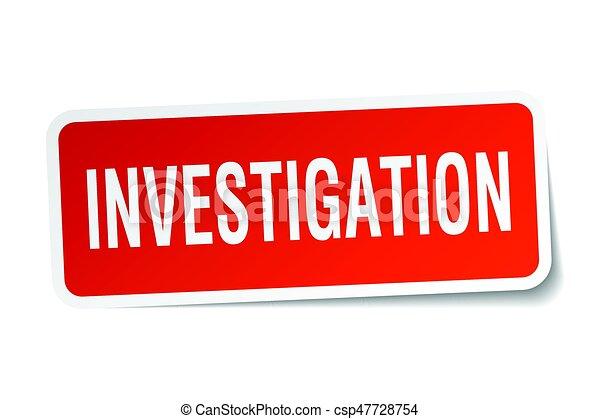 investigation square sticker on white - csp47728754
