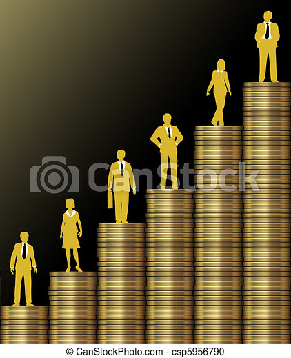 investisseurs, or, diagramme, grandir, monnaie, pile, richesse - csp5956790