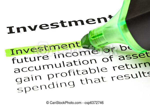 'Investment' highlighted in green - csp6372746