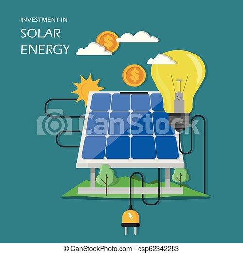 Investment in solar energy vector flat illustration