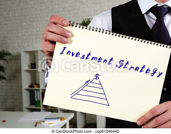 Investment Strategy phrase on the page. - csp81846445