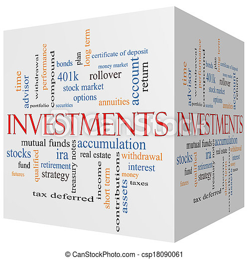 Investments 3D cube Word Cloud Concept - csp18090061