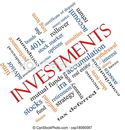 Investments Word Cloud Concept Angled - csp18090097