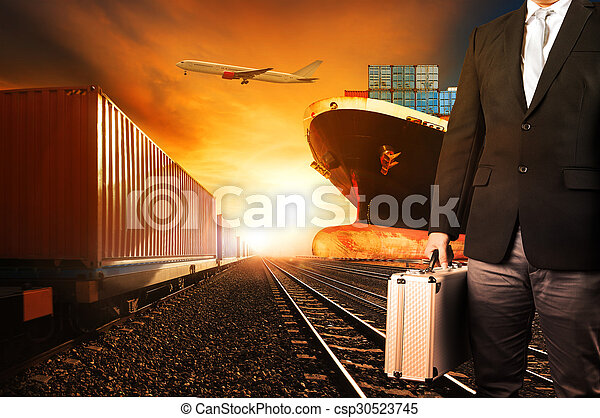 investor and container trains ,commercial ship on port freight cargo plane flying above use for logistic and transportation industry background - csp30523745