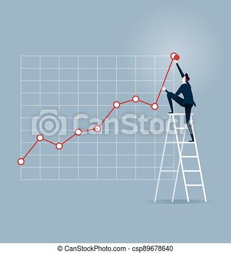 Investor. Businessman climbing up on a ladder - csp89678640