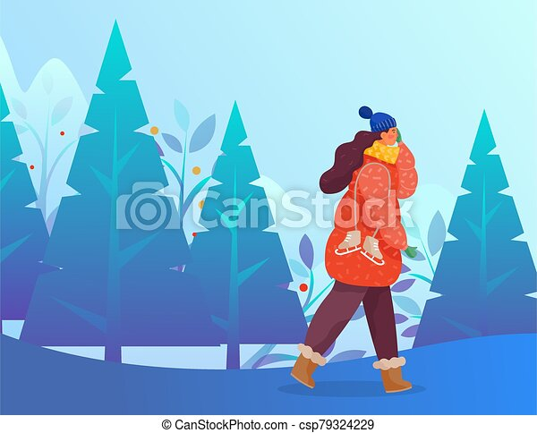 invierno, carácter, bosque, frío, ambulante, hembra - csp79324229