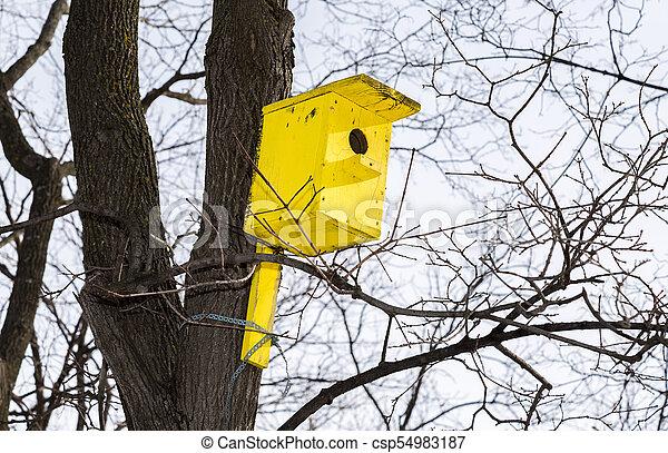 Una pajarera amarilla de madera en un alto árbol en el parque de invierno - csp54983187