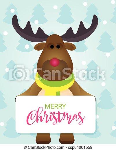 Una encantadora tarjeta de Navidad con renos de dibujos animados felices en un bosque de invierno. - csp64001559