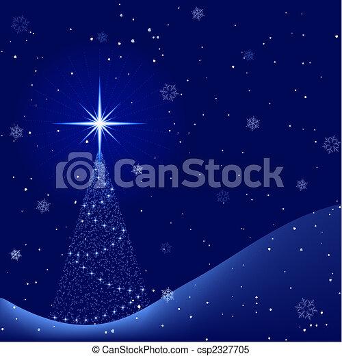invierno, pacífico, árbol, nevada, noche, navidad - csp2327705