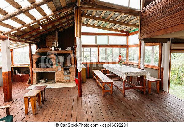 invité, maison bois, belarusian, toilettes, intérieur, russe