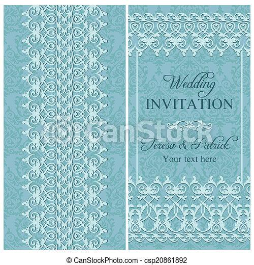 Invitación barroca de boda, azul - csp20861892