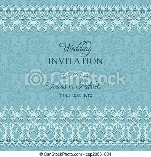 Invitación barroca de boda, azul - csp20861884