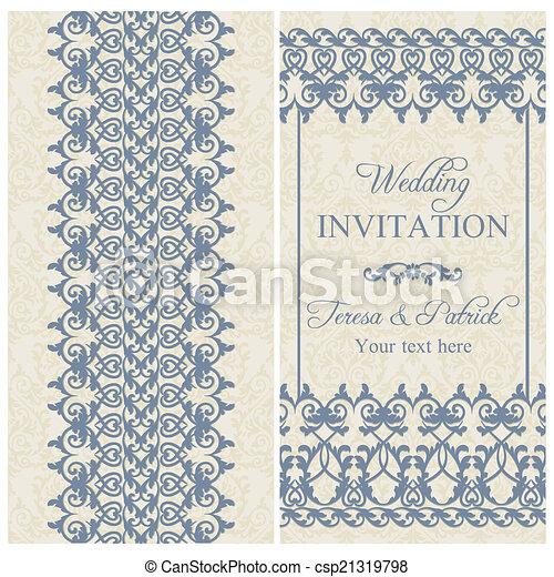 Invitación barroca de boda, azul oscuro - csp21319798