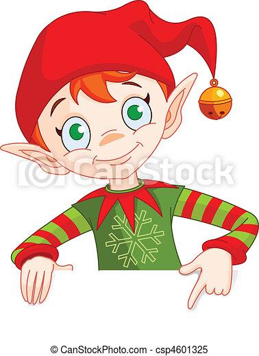 invitare, &, elfo, posto, scheda natale - csp4601325